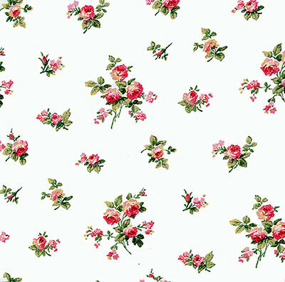Dolls House Wallpaper 1/12th 1/24th scale Pink Floral Quality Paper #112