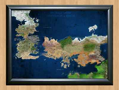 TV Poster Game of Thrones Map Westeros A4 Size Print Photo Wall Home Decor dvd