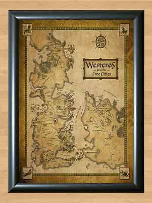 Game Of Thrones Houses Map Westeros And Free Cities A4 Print Poster Wall TV dvd