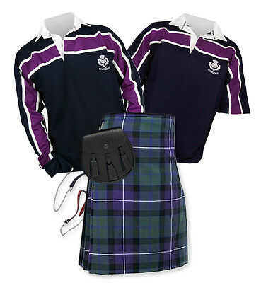 8yd Kilt Outfit 'Sports Essential' - Purple Stripe Rugby Top - Freedom