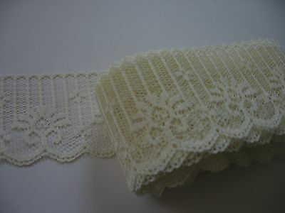 """Hand dyed floral lace, polyester, 5 yards, Pale Champagne, 1-3/4"""" wide"""