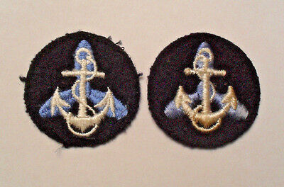 Wwii Matched Pair Wave Embroidered Collar Devices On Blue Wool
