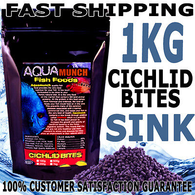 AQUAmunch Cichlid Bites Tropical Aqua Aquarium Fish Food Pellet 1Kg 3MM Sinking