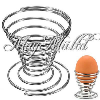 Brand New Hot 4pcs Stainelss Steel Spring Wire Tray Egg Cup Boiled Eggs Holder Z