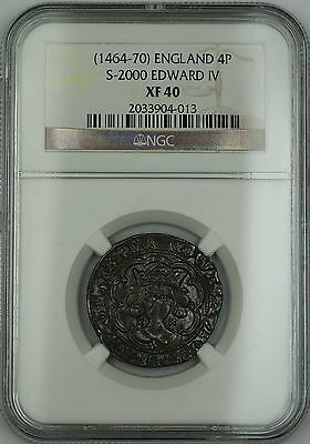 (1464-70) England Silver Groat Fourpence 4P Coin S-2000 Edward IV NGC XF-40 AKR