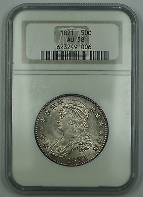 1821 Capped Bust Silver Half Dollar 50c Coin NGC AU-58 Nice Luster DGH