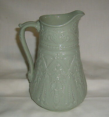 ANTIQUE BRITISH OCT 10, 1867 THOMAS BOOTH RELIEF MOLDED MASK EARTHENWARE PITCHER