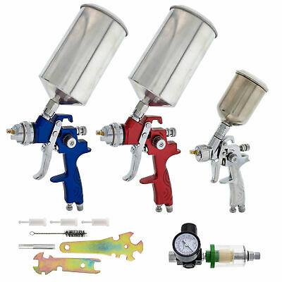 10 pc Set 3 HVLP SPRAY GUN KIT Auto Paint Primer Topcoat Detail Regulator Filter