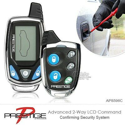 New PRESTIGE APS596C 2 Way Car Security System LCD Pager Keyless Entry Car Alarm