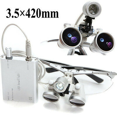 Silver Dental Surgical Medical Binocular Loupes 3.5X 420mm With Head Light Lamp