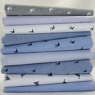 Chambray Swallow Bird / Star Cotton  Oxford Fabric Dressmaking Nursery Shirt