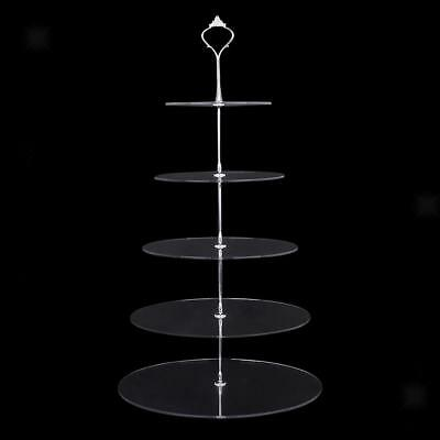 2-5Tier Clear Acrylic Round Cupcake Stand Tower Wedding Party Cake Stand Display