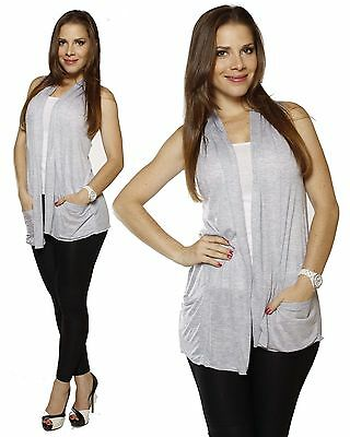 NEW The Countess Collection Fine Gauge Knit Draped Front Open Vest