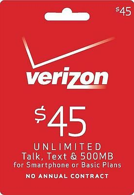 VERIZON WIRELESS $45 Refill. FASTEST REFILL Card Credit APPLY DIRECTLY to PHONE