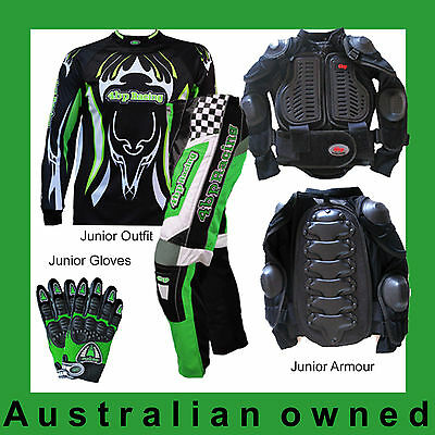 4BP MOTOX 4 Pack Junior/Kids Hotshot gear. Green (Armour, Pants, Jersey, Gloves)