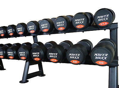 POWER MAXX 2.5kg to 50kg Round Rubber Dumbbell Set Weights Gym