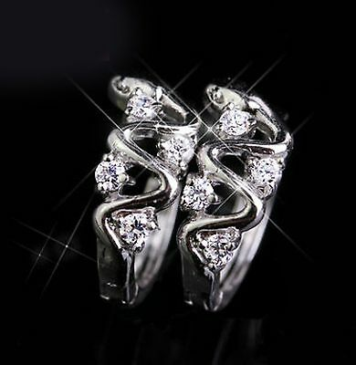 JP Passion Unique Design Hoop AAA CZ Earring Prong set 18K white gold plated