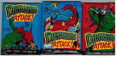 1988 Topps Unopened 3 Pack Lot Dinosaurs Attack! From Box Cards Stickers