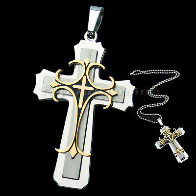 Men's 316L Stainless Silver Gold Steel Cross Pendant Necklace Chain Hot hi8l