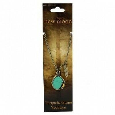 Twilight NEW MOON Turquoise Stone Brass Necklace Pendant NEW NECA Wolf RARE