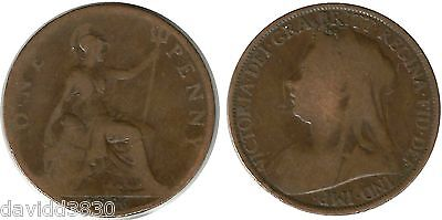 Monnaie Royaume-uni/Great britain one penny 1896 bronze  (mc19478)