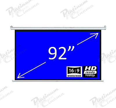 "New 92"" Electric Motorized HD Projection Screen Widescreen 16:9 Matt White"