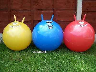 """3 x 20"""" SPACE HOPPERS + BALL PUMP.  CHILDRENS SPACEHOPPERS JUMP """"N"""" BOUNCE"""