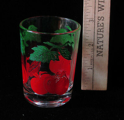 Vintage Federal Glass Small Juice Cup Tomato on the Vine Design Red Green
