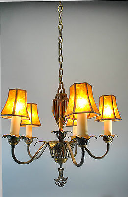 Vintage Art Deco 5 Arm Chandelier Light Fixture in Bronze Tone Original Finish