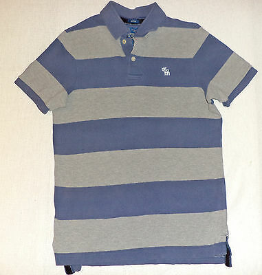 Abercrombie & Fitch S/s Blue & Gray Stripe Button Top Collared Polo  M    K#6245