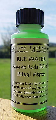 RUE WATER 30 mls AGUA DE RUDA Wicca Witch Pagan Spell Goth REMOVE CURSES HEXES
