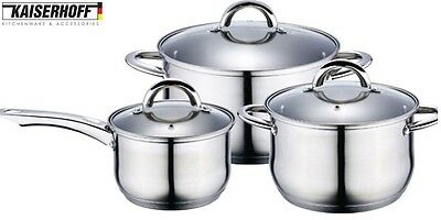 Kaiserhoff KH-4358 Stainless Steel 6 Piece Large Pan Set Glass Lids & Induction