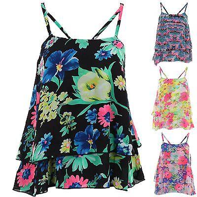 Women's Layered Strappy Frill Chiffon Crop Floral Print Ladies Cami Vest Top