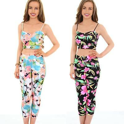 Ladies Neon Floral Flower Print Strappy Crop Top Womens 3/4 Party Leggings Set