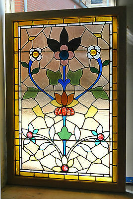 Vintage Stained Glass Window with Floral Pattern - Light Smokey Background