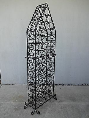 Vintage Hollywood Regency Spanish Gothic Wrought Iron Wine Rack Cellar Storage