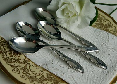 SP-0058 Set of 4 1847 Rogers Bros. Springtime Silver Plate Table / Soup Spoons