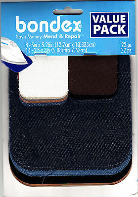 BONDEX 22 PIECE IRON ON MENDING PATCHES - Clothing, Repair, Mend, No Sew