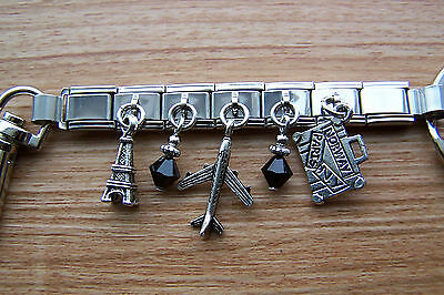 Handcrafted Travel Suitcase Jet Airplane Eiffel Tower Charm Key Ring