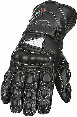 Leather Motorbike Gloves Thermal Carbon Knuckle Shell Waterproof Motorcycle