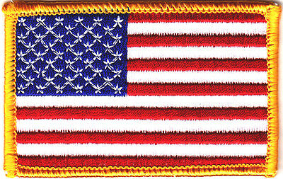 """AMERICAN FLAG, GOLD BORDER (3 1/2"""") USA - PATRIOTIC - Iron On Embroidered Patch"""