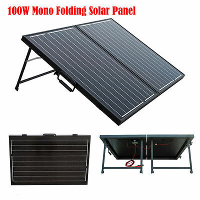 Portable Kit 100W off Grid Suitcase Folding Solar Panel 12V Battery for Camping