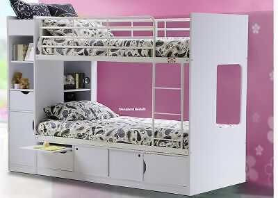 White Platinum Bunk Bed, With Storage - New Childrens Beds | 2 Free Pillows