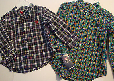 "Baby/toddler Boys Button Down Shirt By ""chaps"" Sizes 24 Months - 3T  Nwt"