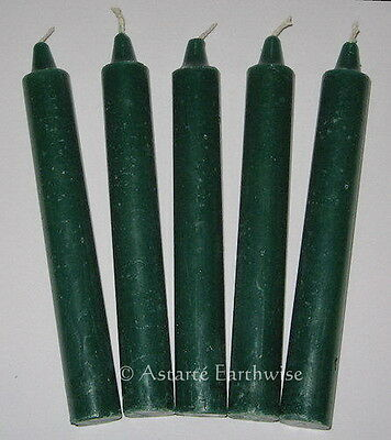 "5 x GREEN CANDLES  TAPER RITUAL 6"" / 15.2cms Wicca Goth Pagan Witch SPELL CANDLE"
