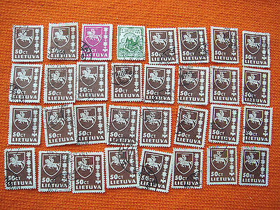 32 pcs Old Vintage Lithuania Lietuva 1937 50 Centu Vytis Cross Post Stamp N 2682