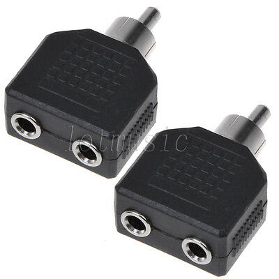 """2*RCA male plug to dual 3.5mm 1/8"""" Stereo female jack Y Splitter Audio adapter"""