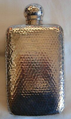 London 1900 Sterling Silver Hand Hammered Hip Flask By Goldsmiths & Silversmiths