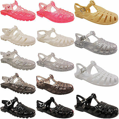 New Womens Ladies Flat Summer Beach Jelly Sandals Flip Flops Shoes Retro  Size 93db0c0f3707