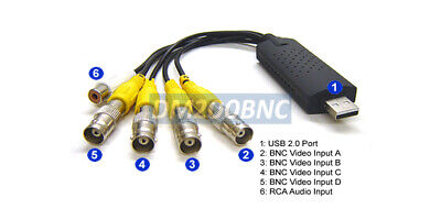 4-Channel BNC/RCA To USB Converter DVR Adapter Camera Video Switcher